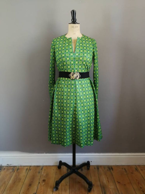 Retro green yellow dress / green 60s tunic dress / boho retro dress / long sleeve polyester dress / retro mod dress / vintage green dress