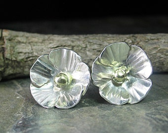 Sterling silver flower studs buttercup poppy nature jewelry - La Petite Buttercup Studs