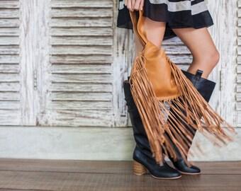 SALE. BOHO FALL. Fringe leather bag / leather wristlet clutch / leather purse / leather pouch / small purse.