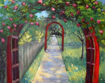 "Garden Landscape Painting, Large Oil Painting, ""The Walk to Freedom"" by Carol Schiff, 24x30x1.5 Oil"