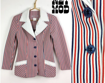 Sassy Vintage 60s 70s Red White and Blue Stripe Blazer!