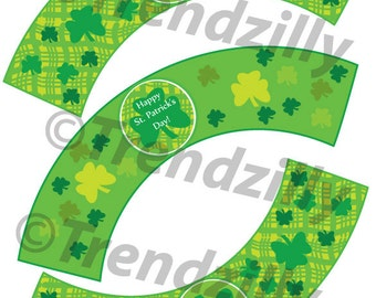St Patrick's Day Cupcake Wrappers, St. Patricks Day Party Decor, St Patty's Cupcake Decor, St Patricks Party Signs, Printable download.