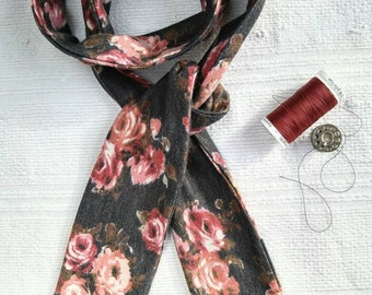 Thin woman scarf pink on charcoal, women, skinny scarf skinny scarf