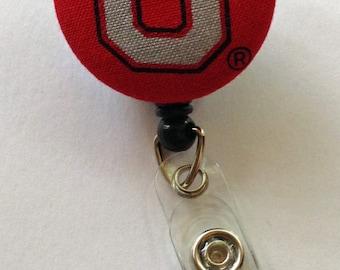 Ohio State Buckeyes Retractable Fabric Badge Reel / ID Holder - Football