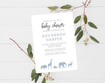 Safari Baby Shower Invitation Baby Boy Animal Themed Simple Announcement Blue and Grey Birthday Party
