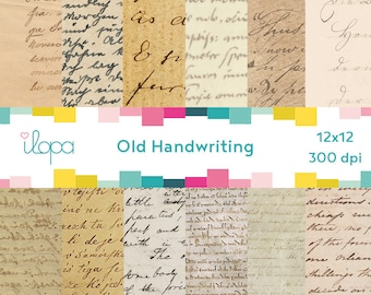 Digital Old Handwriting Paper 300 dpi 12x12