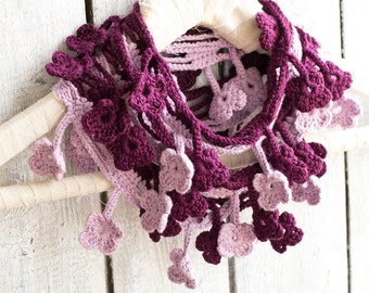 Ombre Purple Floral Loop Scarf, Egyptian Cotton, Bohemian Accessories, Romantic Fashion