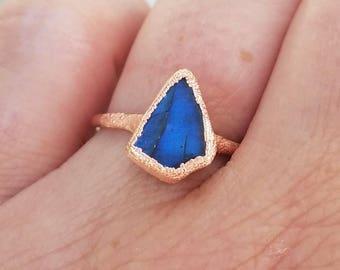 Labradorite Ring Copper Electroformed Ring Size 7