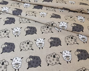 Linen - cotton fabric with Little Sheeps