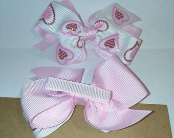 Double layered Pink & White Valentine's Day hair bow