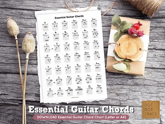 Printable Essential Guitar Chord Chart Basic Guitar Chords