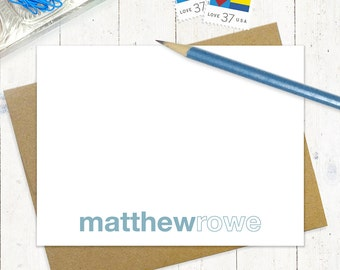 personalized note cards stationery set - LAST NAME OUTLINE - set of 12 flat note cards - stationary - choose color