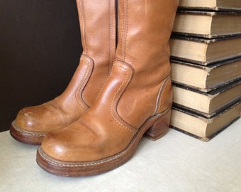 Leather Knee High Boots, Cognac Brown Campus Boots, Bort Carleton, Made in USA, Size 7 , 7.5 US