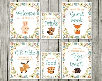 Table sign  Woodland Baby Shower Invites with Fox, Moose, Rabbit, Raccoon, Bear - Gender Neutral, Boy