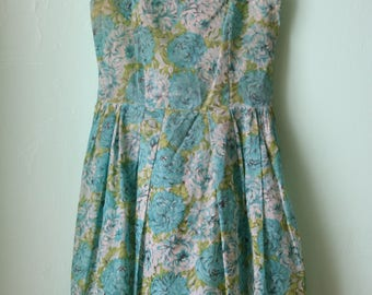 40s/50s Sheer Peony Floral Dress