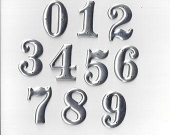 Metal Numbers 0 through 9 Aluminum 1.5 inch Set of 10