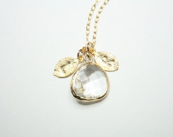 April Birthstone with  Personalized Two initial leaf necklace - Gold Filled, Cute Clear Stone in bezel, Customized letter, mom necklace
