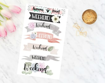 Weekend Banner watercolor planner stickers