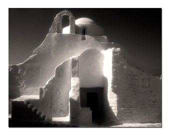 Mykonos Greece The Old Church, Greek Photography, Black and White Fine Art Photograph, Infra-red Film, Startling Black And White