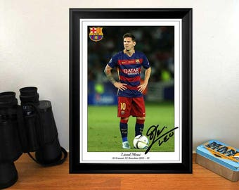 Lionel Messi FC Barcelona 2015 -16 - Autographed Signed Football Photo Print Poster