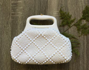 vintage white beaded purse with lucite handle