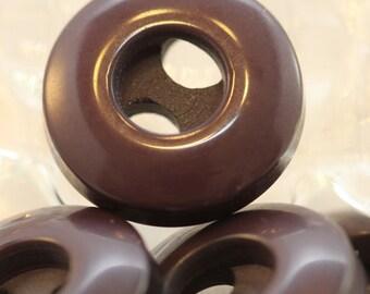 Vintage Buttons / Smooth Odd Large Hole / Dark Deep Dahlia / Brownish Purple (12) 14mm