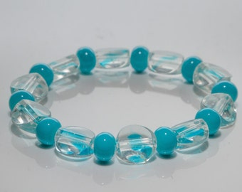 Glass Beaded Bracelet, Aqua Stretch Bracelet, Elastic Cord, Small Bracelet, 6 Inch Bracelet, Stacking Bracelet
