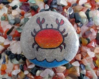 Crab paperweight stone handpainted