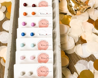 Ball Stud earrings-small round colored