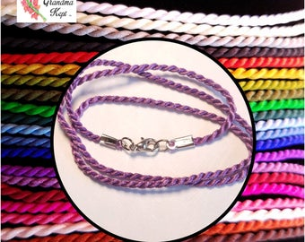 Silk Cord Necklace With Rhodium Tone Clasp – 21 Colors!