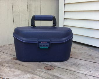 Vintage 1990s Samsonite Navy Blue Traincase Upcycled!