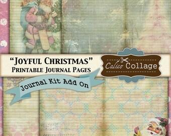 Joyful Christmas Printable Journal Kit Add On, Journal Paper, Printable Paper, Vintage Christmas, Journal Cards, Printable Journal,