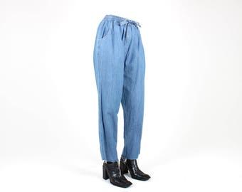 "Perfect 90s Elastic High Waist Slim Leg / Fraying Hem 7/8 Ankle Grazer Grungy ""Mom"" Jeans"