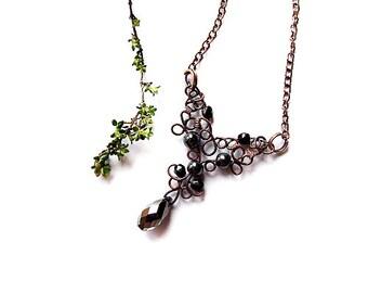 black lace tutorial - gothic romantic necklace tutorial - jewelry tutorial 34