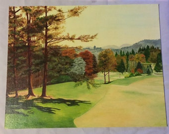 Vintage set of 8 Golf Oil Paintings on canvas panels/Country Club of Asheville/Painted by Artist Hal Kreisel
