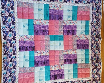 Baby Quilt Purples, Pinks and Turquoise Baby Girl Quilt, Handmade Baby Quilt