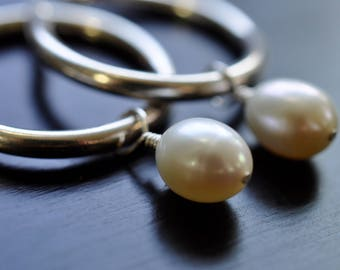 Sterling Silver Hoop Earrings, Freshwater Pearl Drops