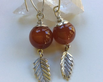 Russet Agate Earrings / Russet Stone Earrings / Sterling Silver Earrings / Stone Dangle Earrings / Agate and Sterling Leaves / Drop Earrings