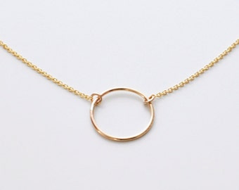 Open circle necklace - gold circle pendant necklace - small ring necklace - delicate gold necklace - round gold charm - Halo gld