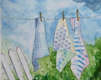 Clothesline Painting. Original Watercolor Clothesline. Clothesline, picket fence. Retro Laundry, Country Life, OOAK art, 7x7in. Not a print!