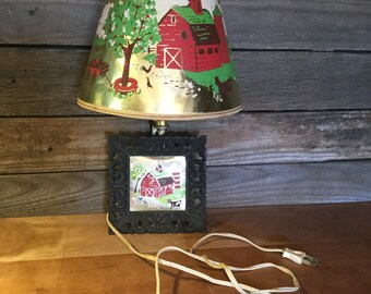 Vintage Pin-Up Lamp, Wall Lamp, with Farm Scene and Barn, Novelty Lamp, Accent Lamp