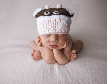 Newborn Baby Cow Hat Photography Prop for Baby Boy or Baby Girl