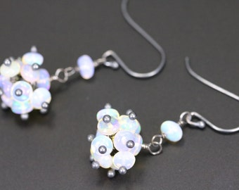 Ethiopian Welo Opal with Oxidized Sterling Silver Cluster Earrings