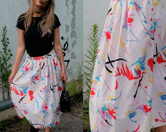 90s Abstract Brush Stroke Skirt with Pockets