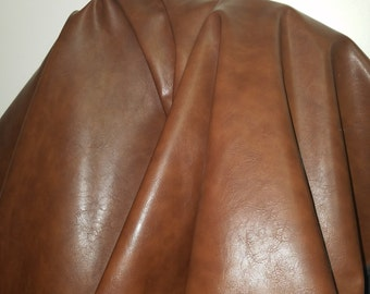 Medium Brown Tan two tone Faux leather Pleather sold by the yard 36 inches x 52 inches wide Synthetic for one yard.  1 yard- 5 yards