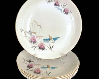 Mid Century 1950s Swinnertons Nestor Vellum Dinner Plates MCM Dinnerware Staffordshire Made in England Retro Plates Sailboat Florals & 1950s dinnerware | Etsy