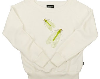Women's sweatshirt with lacewing design (23J/08), wide neckline style.    Individually made in England.