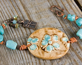 Urban Cowgirl bracelet, turqouise bracelet, hand knotted bracelet, southwestern jewelry, bohemian bracelet, statement piece, boho chic