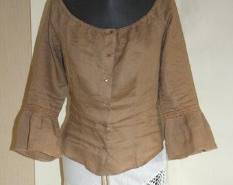 BOHO beige linen top size L Summer Hippie decolete blouse lace sleeves top  Gypsy Bohemian buttoned top Light brown top women