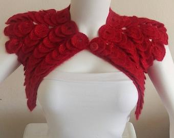 Red crochet bolero, wedding shrug, sleeveless bolero, bridal bolero shrug, gift for her, XS-XXL, fast shipping, Christmas gift